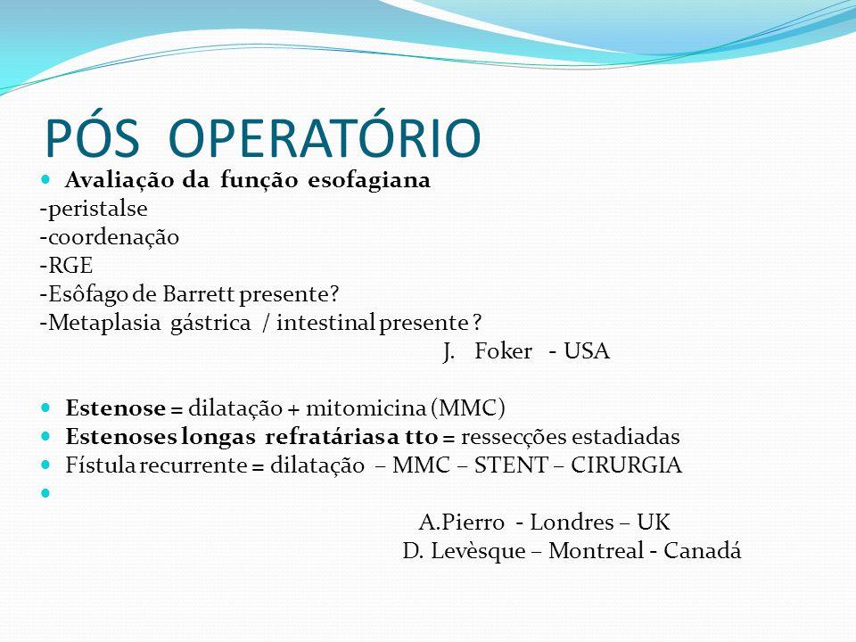 PÓS OPERATÓRIO Avaliação da função esofagiana -peristalse -coordenação -RGE -Esôfago de Barrett presente? -Metaplasia gástrica / intestinal presente ?