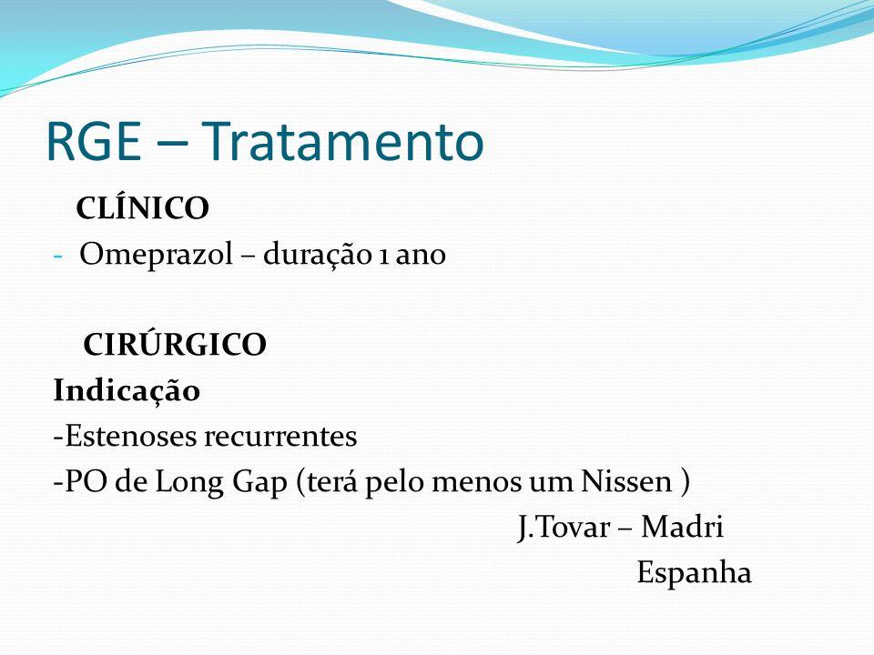 RGE – Tratamento CLÍNICO - Omeprazol – duração 1 ano CIRÚRGICO Indicação -Estenoses recurrentes -PO de Long Gap (terá pelo menos um Nissen ) J.Tovar –