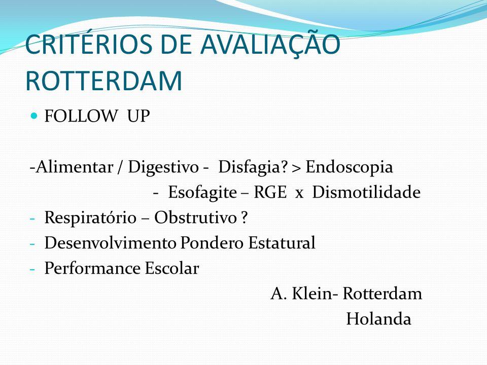 CRITÉRIOS DE AVALIAÇÃO ROTTERDAM FOLLOW UP -Alimentar / Digestivo - Disfagia? > Endoscopia - Esofagite – RGE x Dismotilidade - Respiratório – Obstruti