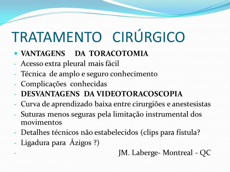 TRATAMENTO CIRÚRGICO VANTAGENS DA TORACOTOMIA - Acesso extra pleural mais fácil - Técnica de amplo e seguro conhecimento - Complicações conhecidas - D