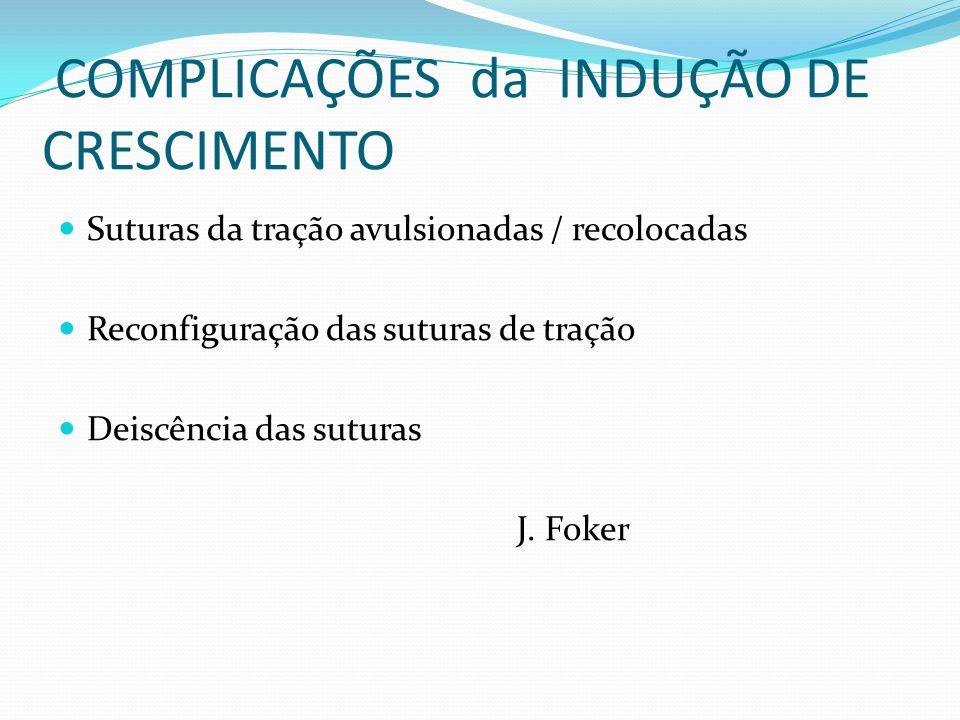 COMPLICAÇÕES da INDUÇÃO DE CRESCIMENTO Suturas da tração avulsionadas / recolocadas Reconfiguração das suturas de tração Deiscência das suturas J. Fok