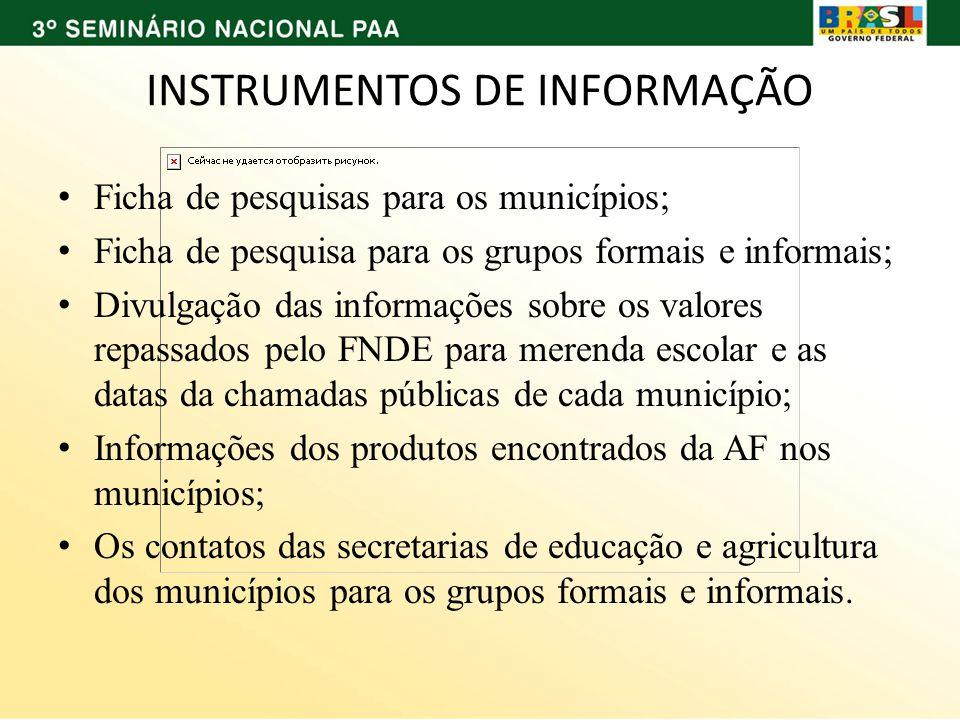 INSTRUMENTOS DE INFORMAÇÃO Ficha de pesquisas para os municípios; Ficha de pesquisa para os grupos formais e informais; Divulgação das informações sob