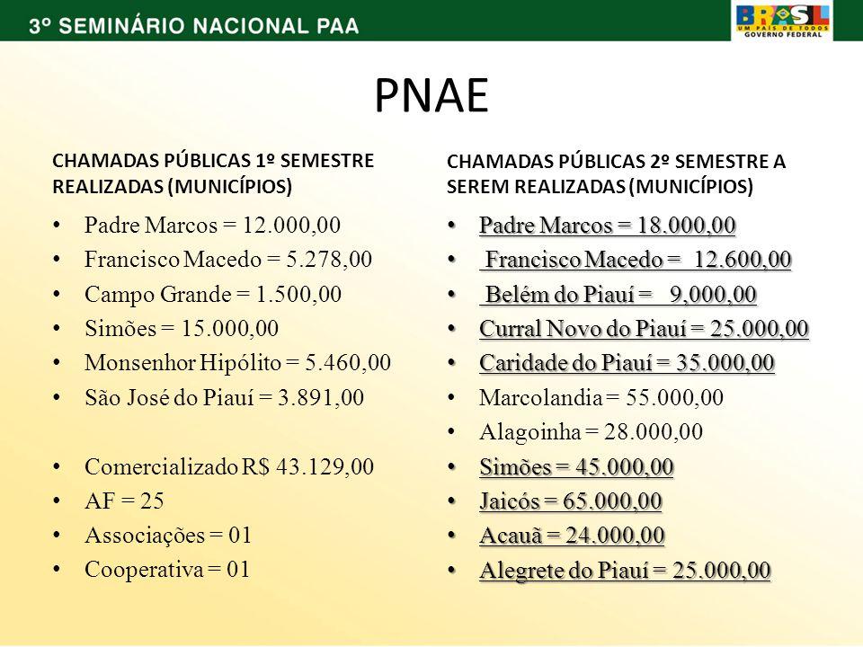 PNAE CHAMADAS PÚBLICAS 1º SEMESTRE REALIZADAS (MUNICÍPIOS) Padre Marcos = 12.000,00 Francisco Macedo = 5.278,00 Campo Grande = 1.500,00 Simões = 15.00