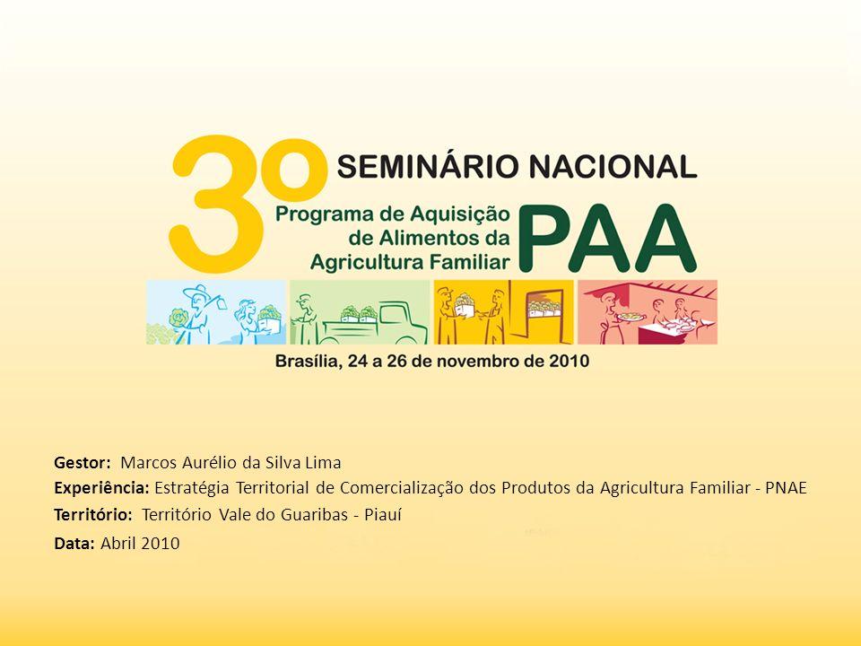 Gestor: Marcos Aurélio da Silva Lima Experiência: Estratégia Territorial de Comercialização dos Produtos da Agricultura Familiar - PNAE Território: Te
