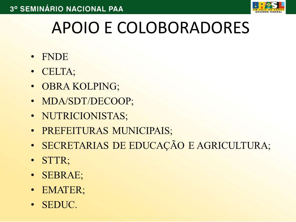 APOIO E COLOBORADORES FNDE CELTA; OBRA KOLPING; MDA/SDT/DECOOP; NUTRICIONISTAS; PREFEITURAS MUNICIPAIS; SECRETARIAS DE EDUCAÇÃO E AGRICULTURA; STTR; S
