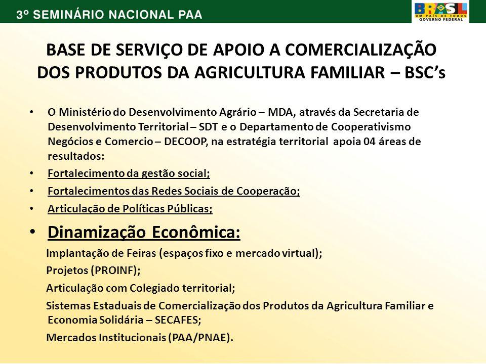 BASE DE SERVIÇO DE APOIO A COMERCIALIZAÇÃO DOS PRODUTOS DA AGRICULTURA FAMILIAR – BSCs O Ministério do Desenvolvimento Agrário – MDA, através da Secre