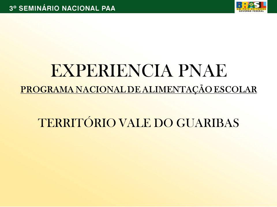 EXPERIENCIA PNAE PROGRAMA NACIONAL DE ALIMENTAÇÃO ESCOLAR TERRITÓRIO VALE DO GUARIBAS