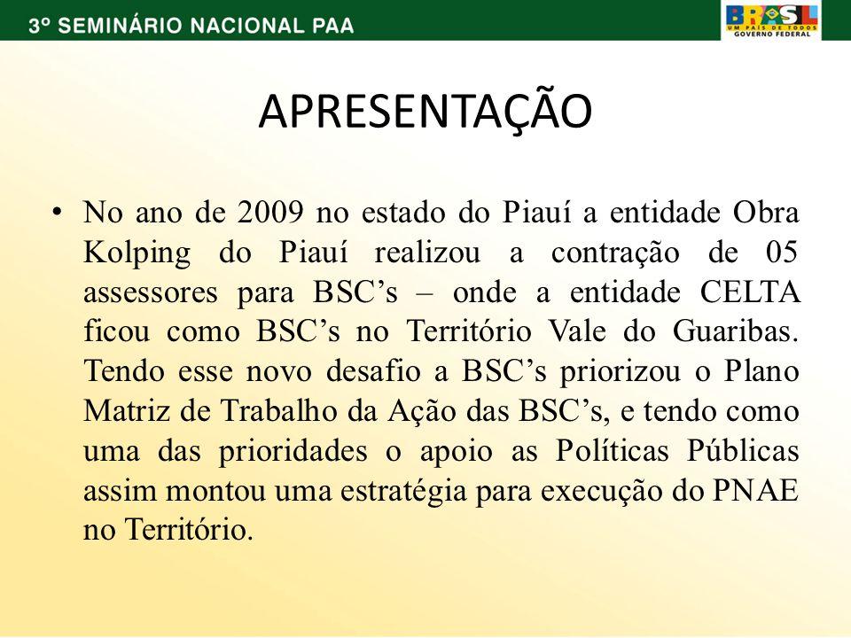 APRESENTAÇÃO No ano de 2009 no estado do Piauí a entidade Obra Kolping do Piauí realizou a contração de 05 assessores para BSCs – onde a entidade CELT