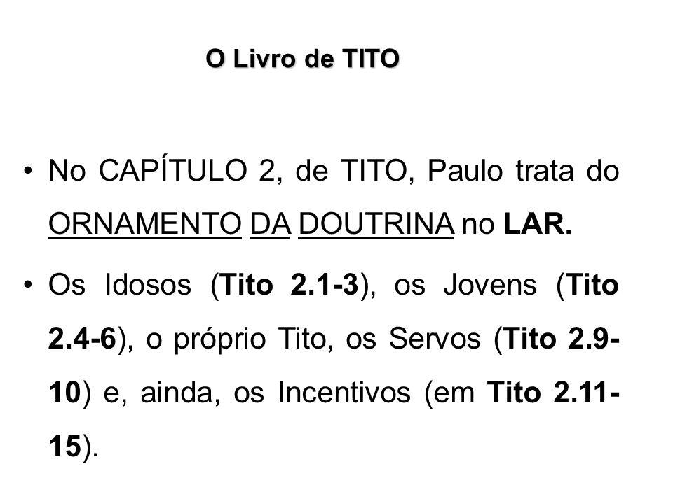 O Livro de TITO No CAPÍTULO 2, de TITO, Paulo trata do ORNAMENTO DA DOUTRINA no LAR. Os Idosos (Tito 2.1-3), os Jovens (Tito 2.4-6), o próprio Tito, o