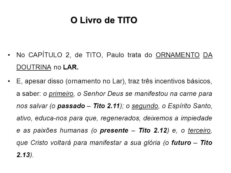 O Livro de TITO No CAPÍTULO 2, de TITO, Paulo trata do ORNAMENTO DA DOUTRINA no LAR. E, apesar disso (ornamento no Lar), traz três incentivos básicos,
