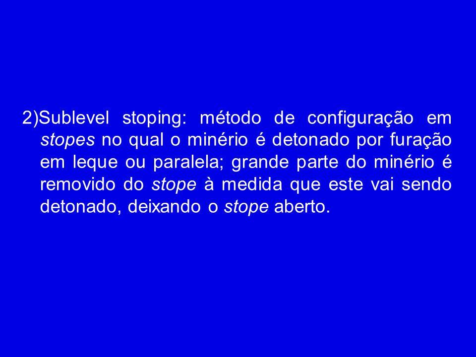 2)Sublevel stoping: método de configuração em stopes no qual o minério é detonado por furação em leque ou paralela; grande parte do minério é removido