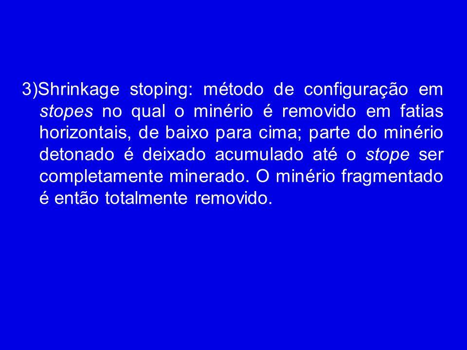 3)Shrinkage stoping: método de configuração em stopes no qual o minério é removido em fatias horizontais, de baixo para cima; parte do minério detonad
