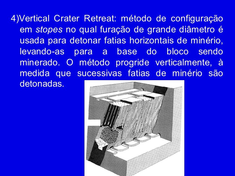 4)Vertical Crater Retreat: método de configuração em stopes no qual furação de grande diâmetro é usada para detonar fatias horizontais de minério, lev