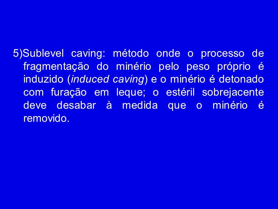 5)Sublevel caving: método onde o processo de fragmentação do minério pelo peso próprio é induzido (induced caving) e o minério é detonado com furação