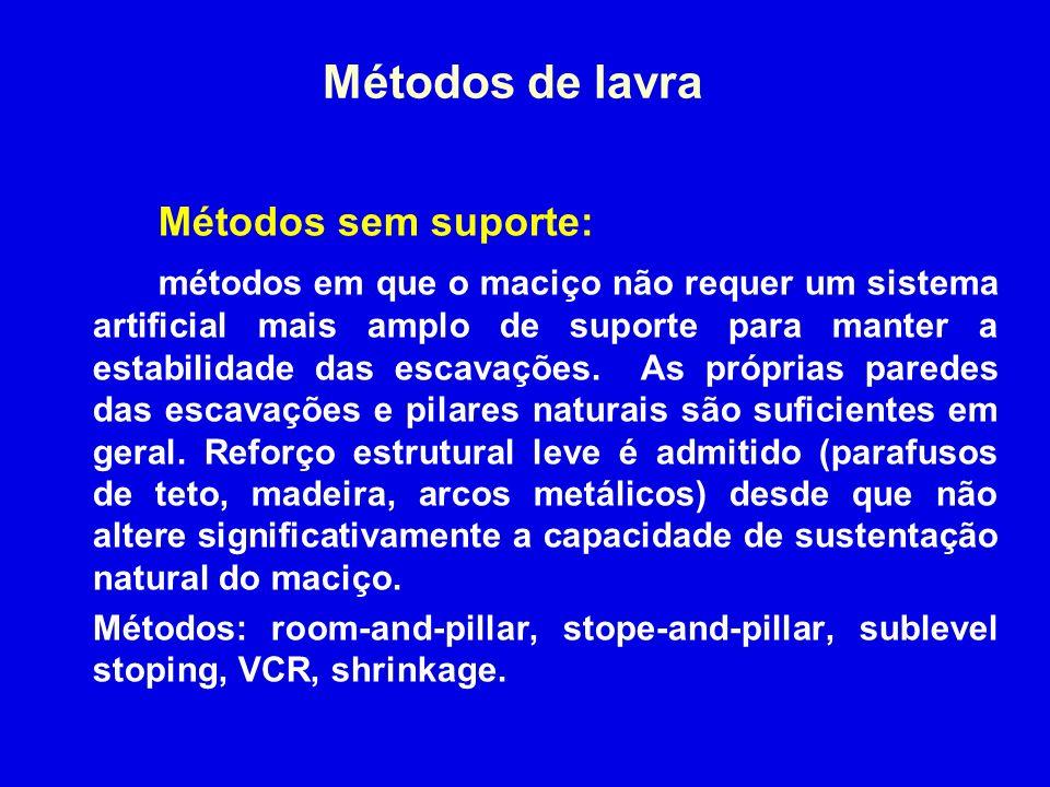 Métodos de lavra Métodos sem suporte: métodos em que o maciço não requer um sistema artificial mais amplo de suporte para manter a estabilidade das es