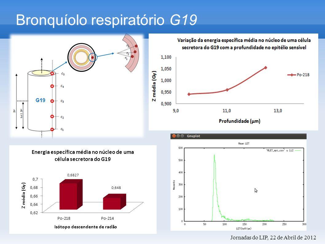 Histogramas de energia específica Bronquíolo respiratório G19 Histogramas de LET Jornadas do LIP, 22 de Abril de 2012