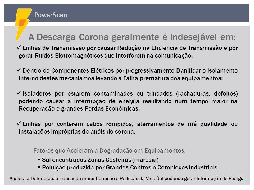 PowerScan O que é Descarga Corona O que é Descarga Corona A Descarga Corona ocorre quando um forte campo elétrico associado com um condutor de alta te