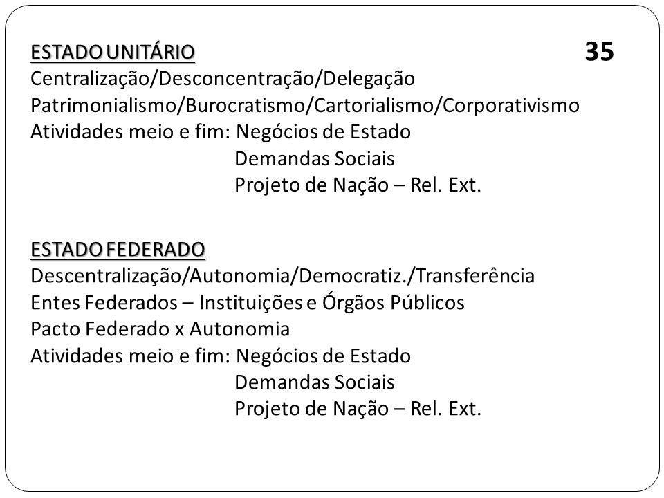 ESTADO UNITÁRIO Centralização/Desconcentração/Delegação Patrimonialismo/Burocratismo/Cartorialismo/Corporativismo Atividades meio e fim: Negócios de E