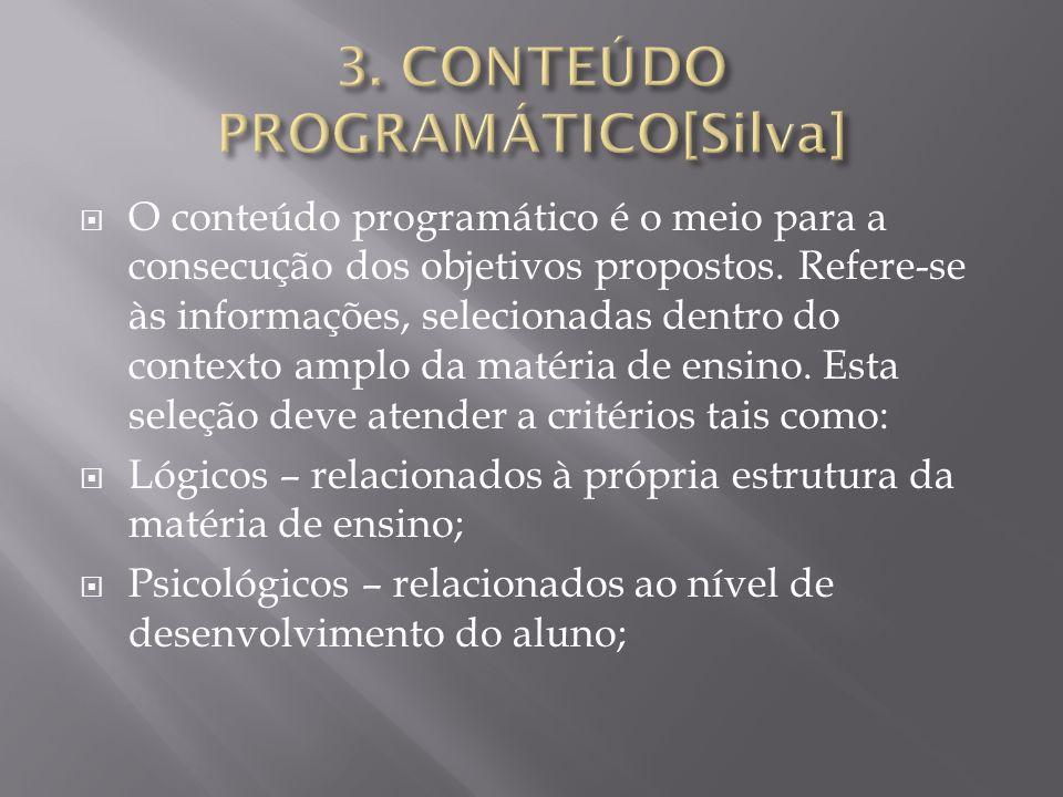 O conteúdo programático é o meio para a consecução dos objetivos propostos. Refere-se às informações, selecionadas dentro do contexto amplo da matéria