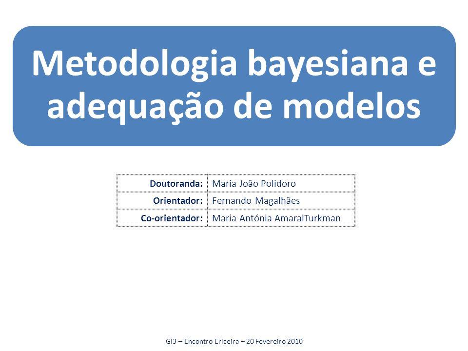 Metodologia bayesiana e adequação de modelos Doutoranda:Maria João Polidoro Orientador:Fernando Magalhães Co-orientador:Maria Antónia AmaralTurkman GI3 – Encontro Ericeira – 20 Fevereiro 2010