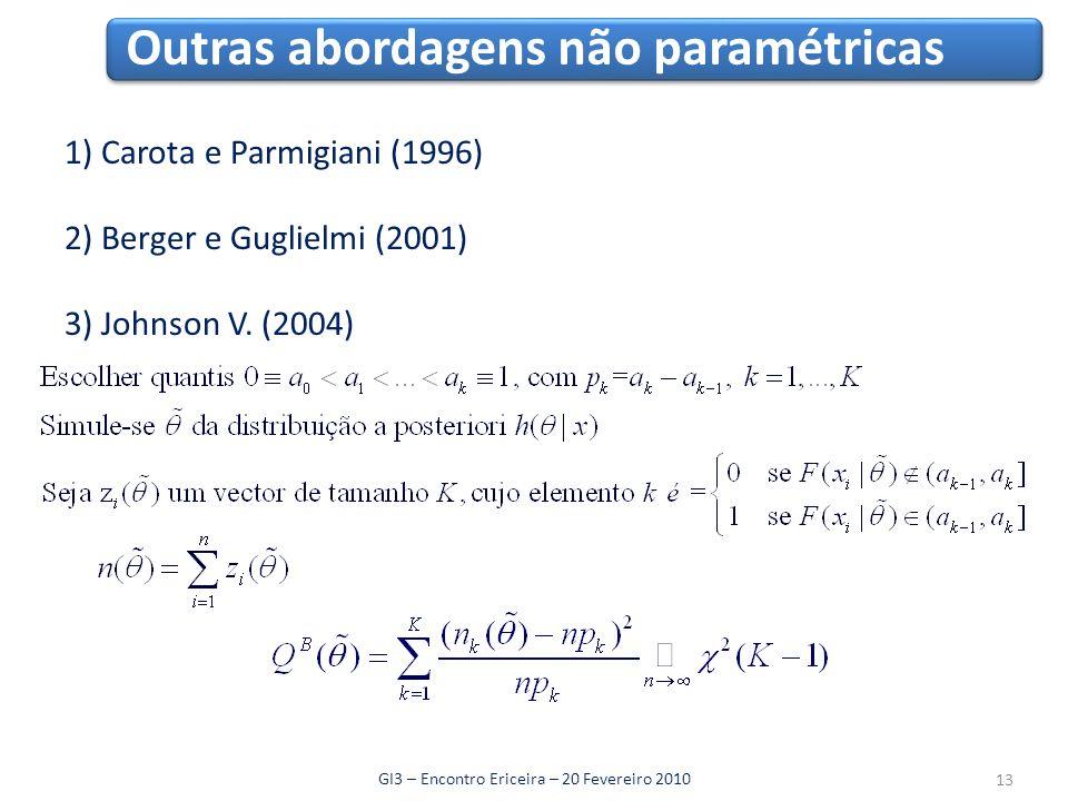 Outras abordagens não paramétricas GI3 – Encontro Ericeira – 20 Fevereiro 2010 1) Carota e Parmigiani (1996) 2) Berger e Guglielmi (2001) 3) Johnson V.