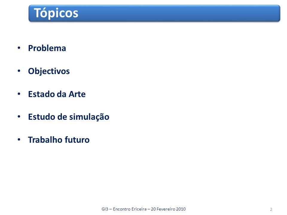 Problema Objectivos Estado da Arte Estudo de simulação Trabalho futuro Tópicos GI3 – Encontro Ericeira – 20 Fevereiro 2010 2