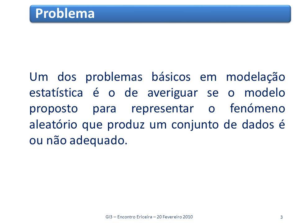 Um dos problemas básicos em modelação estatística é o de averiguar se o modelo proposto para representar o fenómeno aleatório que produz um conjunto de dados é ou não adequado.