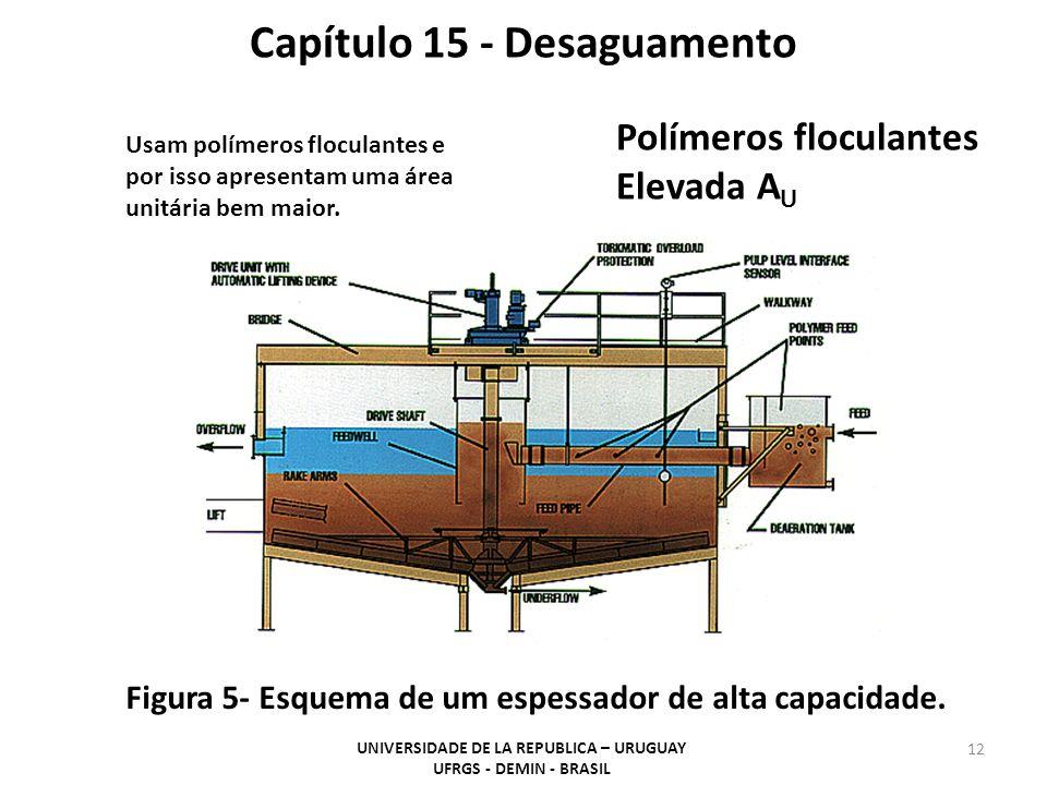Polímeros floculantes Elevada A U Capítulo 15 - Desaguamento Usam polímeros floculantes e por isso apresentam uma área unitária bem maior. Figura 5- E