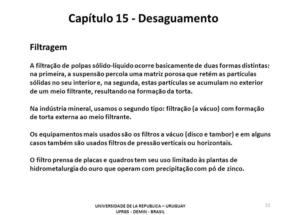 Capítulo 15 - Desaguamento UNIVERSIDADE DE LA REPUBLICA – URUGUAY UFRGS - DEMIN - BRASIL 13 Filtragem A filtração de polpas sólido-líquido ocorre basi