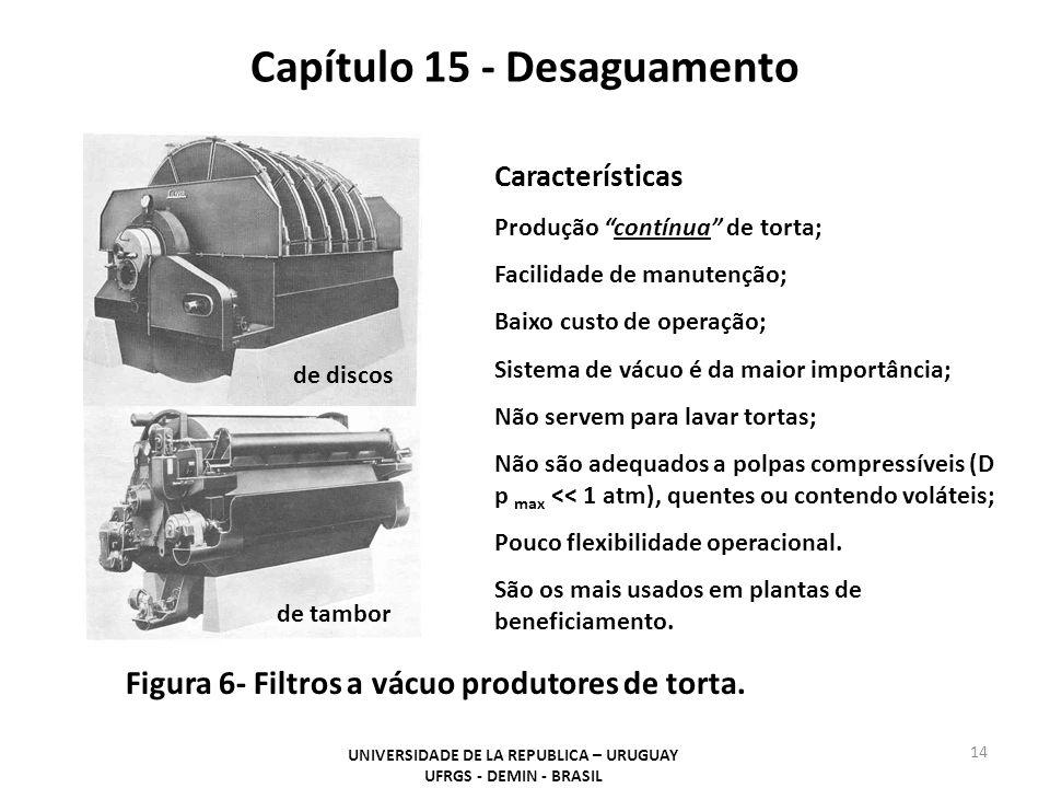 Capítulo 15 - Desaguamento UNIVERSIDADE DE LA REPUBLICA – URUGUAY UFRGS - DEMIN - BRASIL 14 Figura 6- Filtros a vácuo produtores de torta. de discos d