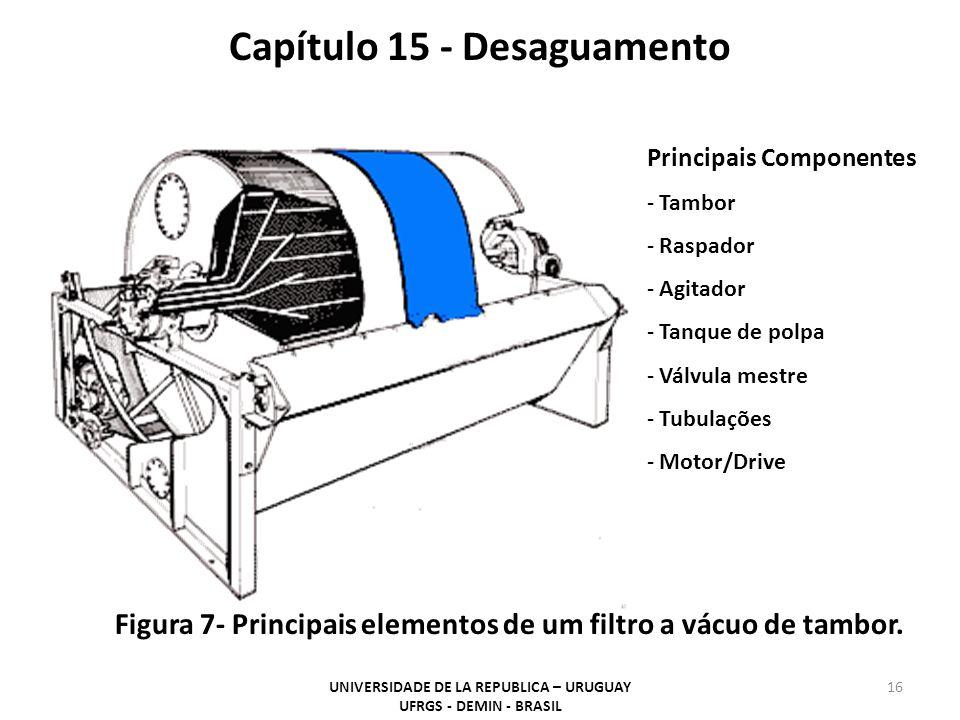 Principais Componentes - Tambor - Raspador - Agitador - Tanque de polpa - Válvula mestre - Tubulações - Motor/Drive Capítulo 15 - Desaguamento Figura