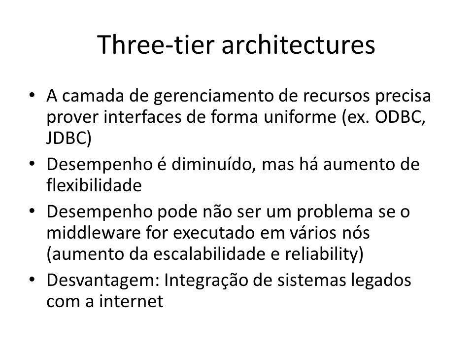 Three-tier architectures A camada de gerenciamento de recursos precisa prover interfaces de forma uniforme (ex.