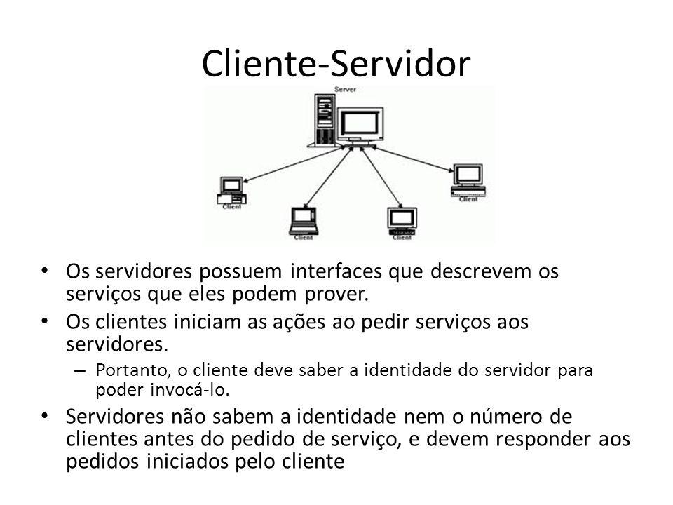 Cliente-Servidor Os servidores possuem interfaces que descrevem os serviços que eles podem prover.