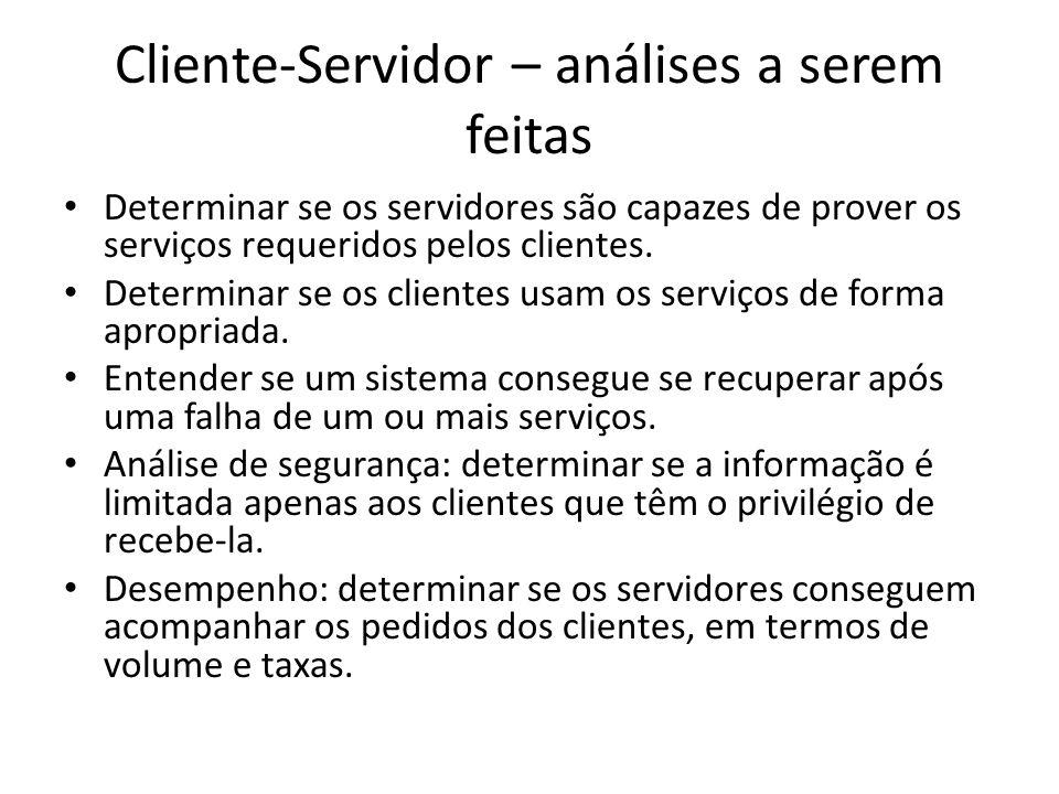 Cliente-Servidor – análises a serem feitas Determinar se os servidores são capazes de prover os serviços requeridos pelos clientes.