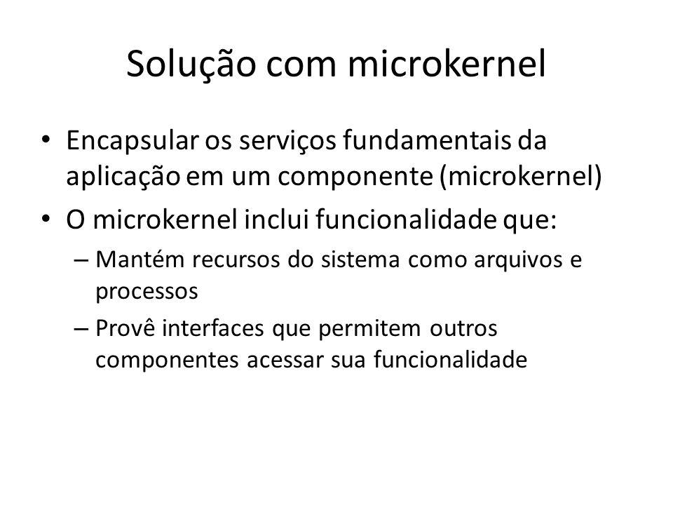 Solução com microkernel Encapsular os serviços fundamentais da aplicação em um componente (microkernel) O microkernel inclui funcionalidade que: – Mantém recursos do sistema como arquivos e processos – Provê interfaces que permitem outros componentes acessar sua funcionalidade