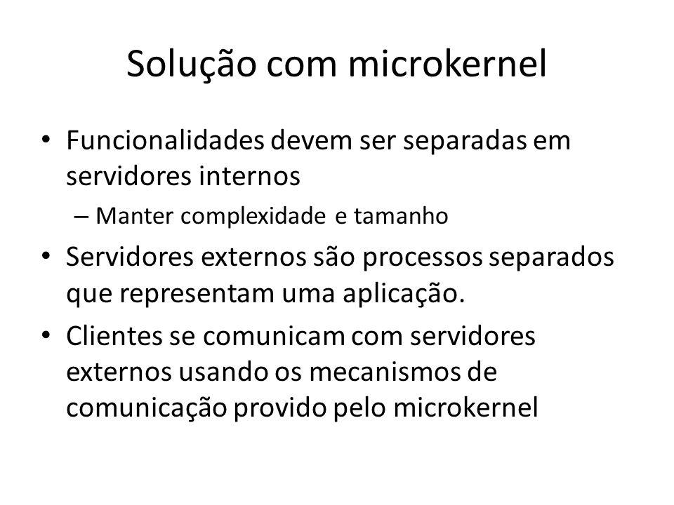 Solução com microkernel Funcionalidades devem ser separadas em servidores internos – Manter complexidade e tamanho Servidores externos são processos separados que representam uma aplicação.