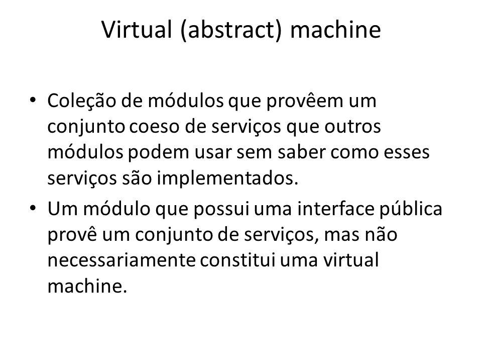 Virtual (abstract) machine Coleção de módulos que provêem um conjunto coeso de serviços que outros módulos podem usar sem saber como esses serviços são implementados.