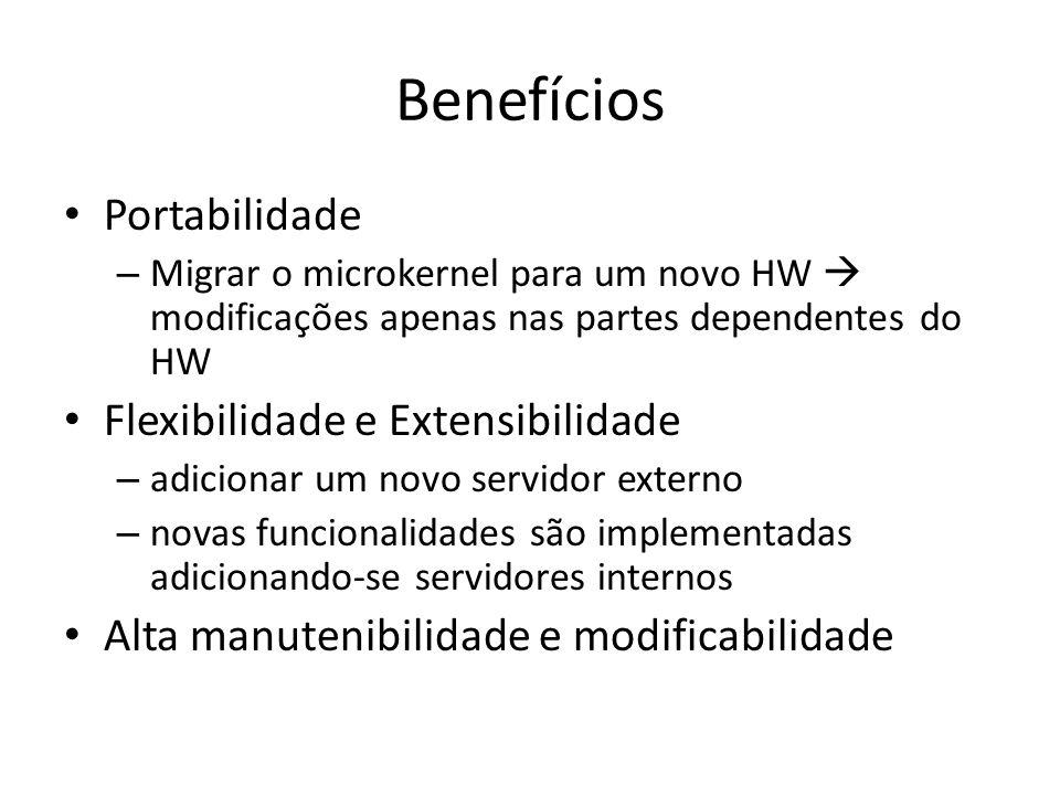 Benefícios Portabilidade – Migrar o microkernel para um novo HW modificações apenas nas partes dependentes do HW Flexibilidade e Extensibilidade – adicionar um novo servidor externo – novas funcionalidades são implementadas adicionando-se servidores internos Alta manutenibilidade e modificabilidade