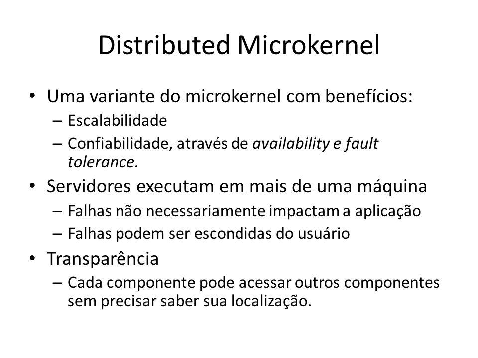 Distributed Microkernel Uma variante do microkernel com benefícios: – Escalabilidade – Confiabilidade, através de availability e fault tolerance.