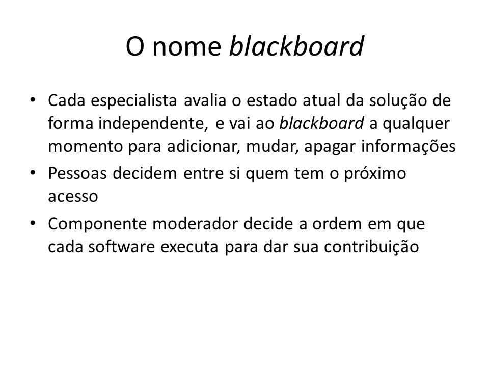 O nome blackboard Cada especialista avalia o estado atual da solução de forma independente, e vai ao blackboard a qualquer momento para adicionar, mudar, apagar informações Pessoas decidem entre si quem tem o próximo acesso Componente moderador decide a ordem em que cada software executa para dar sua contribuição