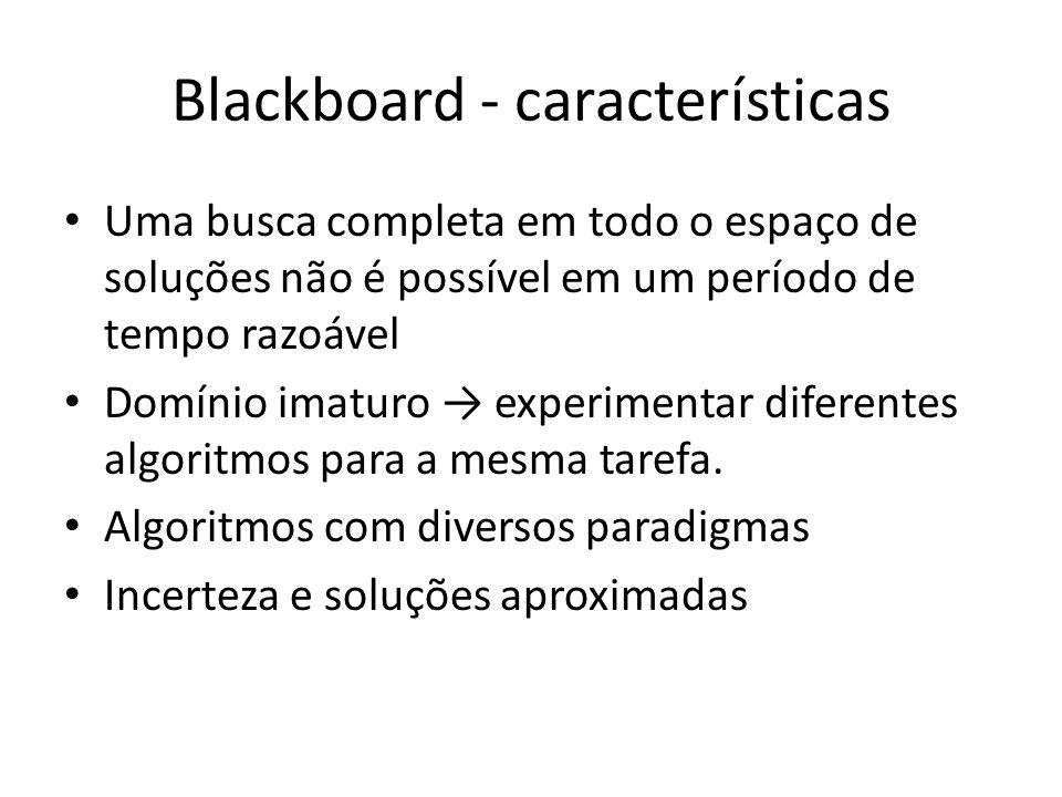 Blackboard - características Uma busca completa em todo o espaço de soluções não é possível em um período de tempo razoável Domínio imaturo experimentar diferentes algoritmos para a mesma tarefa.