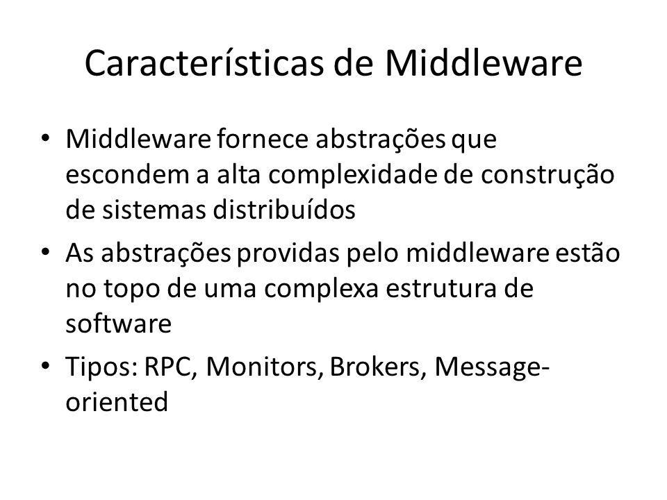 Características de Middleware Middleware fornece abstrações que escondem a alta complexidade de construção de sistemas distribuídos As abstrações providas pelo middleware estão no topo de uma complexa estrutura de software Tipos: RPC, Monitors, Brokers, Message- oriented