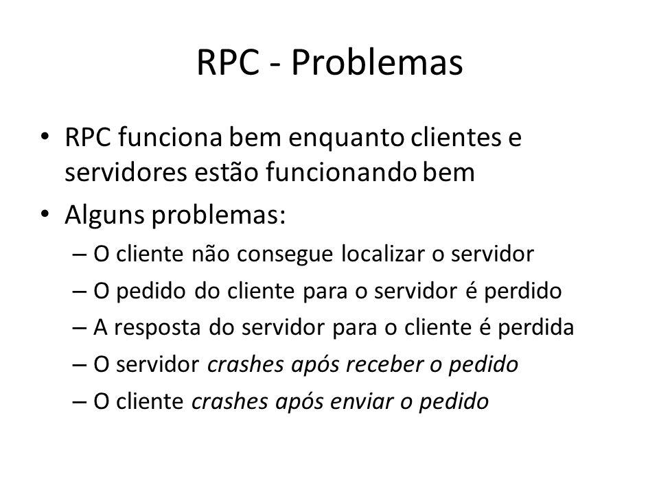 RPC - Problemas RPC funciona bem enquanto clientes e servidores estão funcionando bem Alguns problemas: – O cliente não consegue localizar o servidor – O pedido do cliente para o servidor é perdido – A resposta do servidor para o cliente é perdida – O servidor crashes após receber o pedido – O cliente crashes após enviar o pedido