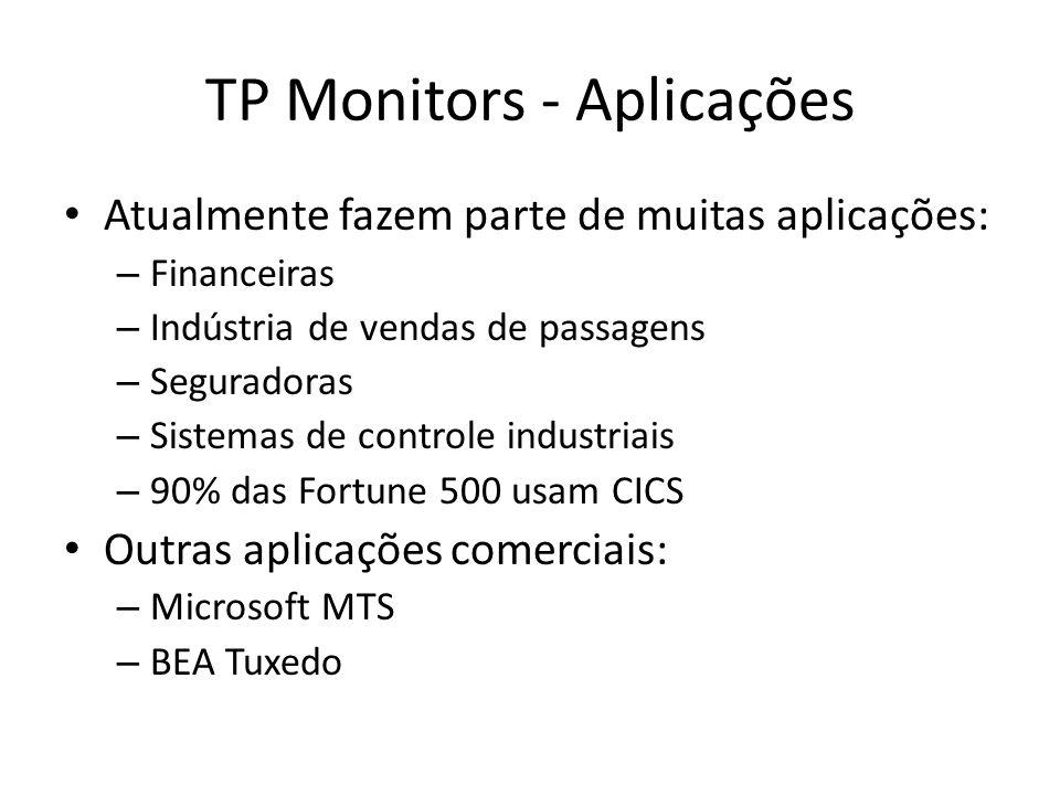 TP Monitors - Aplicações Atualmente fazem parte de muitas aplicações: – Financeiras – Indústria de vendas de passagens – Seguradoras – Sistemas de controle industriais – 90% das Fortune 500 usam CICS Outras aplicações comerciais: – Microsoft MTS – BEA Tuxedo