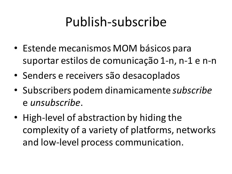 Publish-subscribe Estende mecanismos MOM básicos para suportar estilos de comunicação 1-n, n-1 e n-n Senders e receivers são desacoplados Subscribers podem dinamicamente subscribe e unsubscribe.