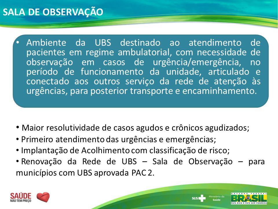 SALA DE OBSERVAÇÃO Ambiente da UBS destinado ao atendimento de pacientes em regime ambulatorial, com necessidade de observação em casos de urgência/em