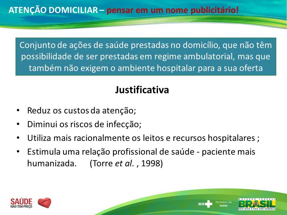 Reduz os custos da atenção; Diminui os riscos de infecção; Utiliza mais racionalmente os leitos e recursos hospitalares ; Estimula uma relação profiss