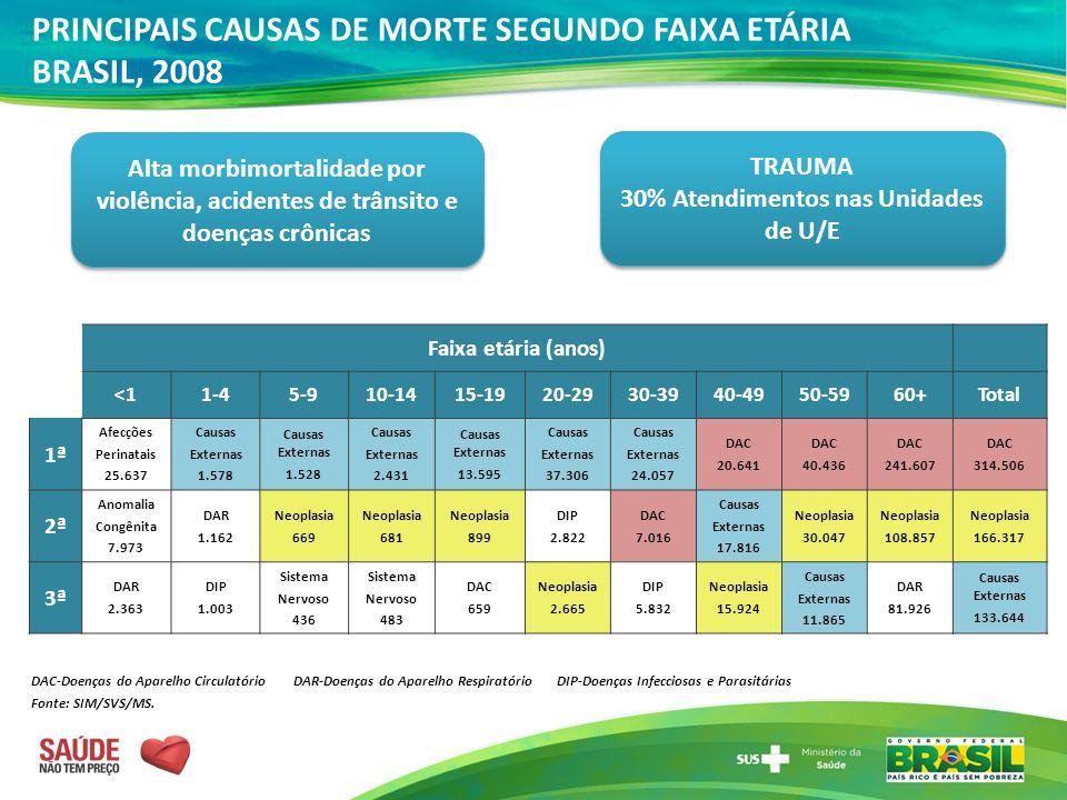 PRINCIPAIS CAUSAS DE MORTE SEGUNDO FAIXA ETÁRIA BRASIL, 2008 DAC-Doenças do Aparelho Circulatório DAR-Doenças do Aparelho Respiratório DIP-Doenças Inf