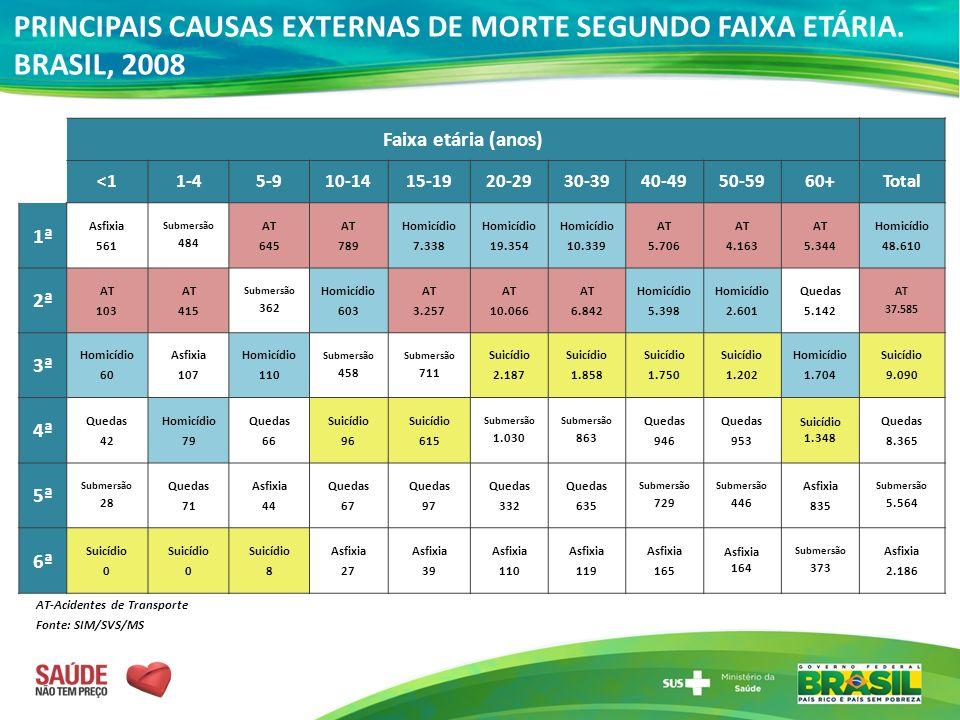 PRINCIPAIS CAUSAS EXTERNAS DE MORTE SEGUNDO FAIXA ETÁRIA. BRASIL, 2008 AT-Acidentes de Transporte Fonte: SIM/SVS/MS Faixa etária (anos) <11-45-910-141