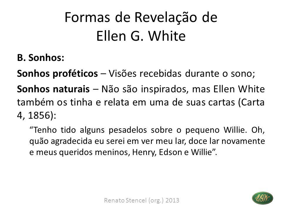 Formas de Revelação de Ellen G. White B. Sonhos: Sonhos proféticos – Visões recebidas durante o sono; Sonhos naturais – Não são inspirados, mas Ellen